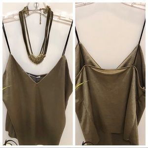 NWT Zara Taupe Tank Top Leather Straps SZ M